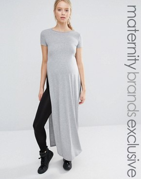 photo Short Sleeve Jersey Maxi Dress with Side Splits by Club L Lounge Maternity, color Grey - Image 1