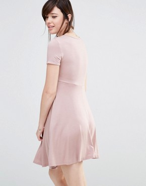 photo Short Sleeve Skater Dress by Club L Lounge Maternity, color Pink - Image 2