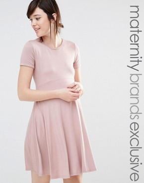 photo Short Sleeve Skater Dress by Club L Lounge Maternity, color Pink - Image 1