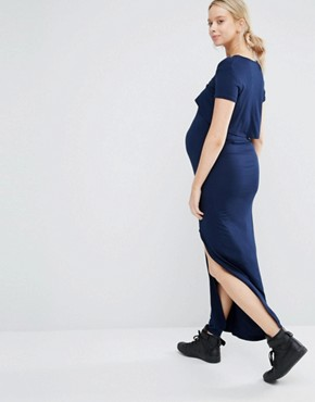 photo Double Layer Jersey Maxi Dress by Club L Lounge Maternity, color Navy - Image 2