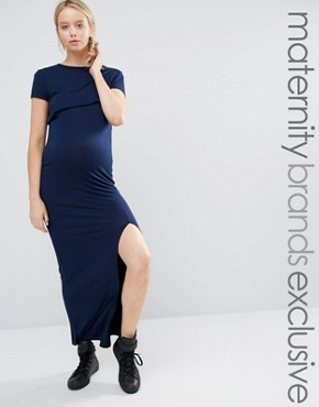photo Double Layer Jersey Maxi Dress by Club L Lounge Maternity, color Navy - Image 1