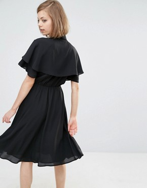 photo Shirt Dress with Cape Sleeve Detail by Lost Ink, color Black - Image 2