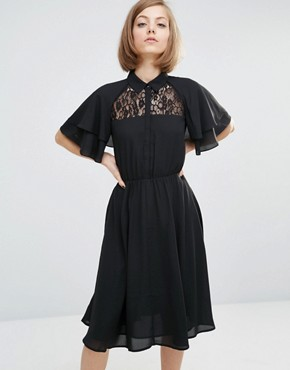 photo Shirt Dress with Cape Sleeve Detail by Lost Ink, color Black - Image 1