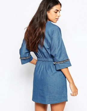 photo Cast Away Denim Dress by Goldie, color Blue - Image 2