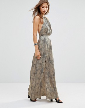 photo Projection Leopard Printed Maxi Dress with Open Back by WYLDR, color Multi - Image 1
