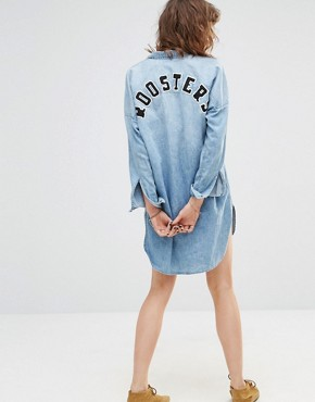 photo Roosters Denim Shirt Dress by Maison Scotch, color Blue - Image 2