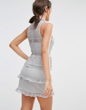 photo Lace Tiered Dress by Missguided Premium, color Grey - Image 2