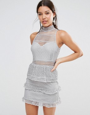 photo Lace Tiered Dress by Missguided Premium, color Grey - Image 1