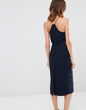 photo Halterneck Ruched Side Midi Dress by Warehouse, color Navy - Image 2