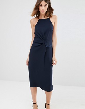 photo Halterneck Ruched Side Midi Dress by Warehouse, color Navy - Image 1