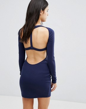 photo Long Sleeve T-Shirt Dress by Pixie & Diamond, color Navy - Image 2