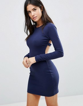 photo Long Sleeve T-Shirt Dress by Pixie & Diamond, color Navy - Image 1