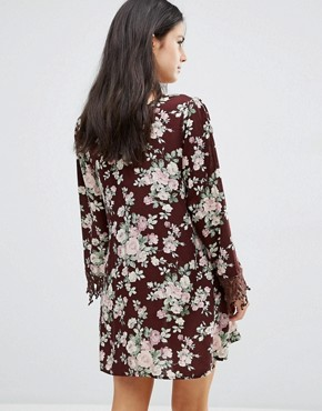 photo Printed Shift Dress with Lace Sleeves by Pixie & Diamond, color Burgandy - Image 2