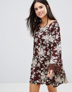 photo Printed Shift Dress with Lace Sleeves by Pixie & Diamond, color Burgandy - Image 1