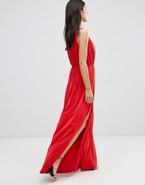 photo Deep V Maxi Dress by Pixie & Diamond, color Red - Image 2