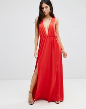 photo Deep V Maxi Dress by Pixie & Diamond, color Red - Image 1