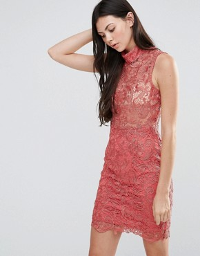 photo High Neck Lace Mini Dress by Pixie & Diamond, color Dusty Pink - Image 1