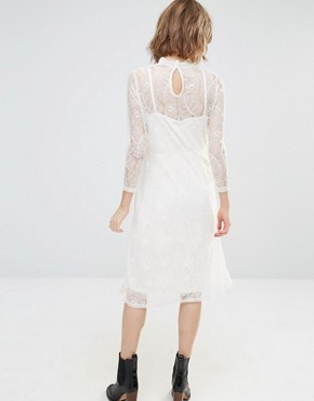 photo Embroidered Lace Midi Dress by First & I, color Pristine - Image 2