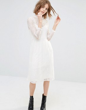 photo Embroidered Lace Midi Dress by First & I, color Pristine - Image 1
