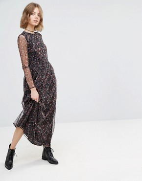 photo Ditsy Printed Maxi Dress by First & I, color Floral - Image 1