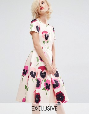 photo Iris Pansy Prom Dress in Duchess Satin by Horrockses, color Dark Pansy Print - Image 1
