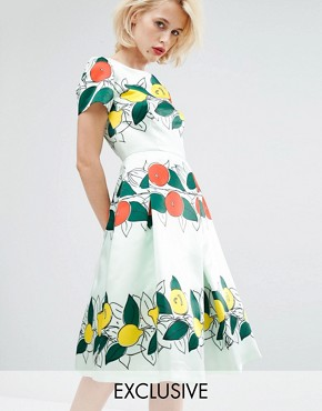 photo Lucille Midi Dress by Horrockses, color Mint Base Fruit Print - Image 1