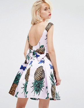 photo Pineapple Mini Prom Dress with Bow Back by Horrockses, color Pineapple Print - Image 2