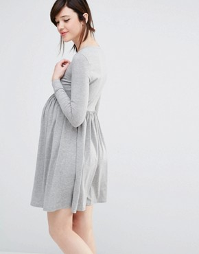photo Long Sleeve Wrap Front Skater Dress by Club L Lounge Maternity, color Grey - Image 2