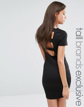 photo Open Back Strap Bodycon Dress by Noisy May Tall, color Black - Image 1