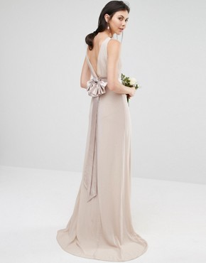photo Sateen Bow Back Maxi Dress by TFNC Tall WEDDING, color Whisper Pink - Image 2