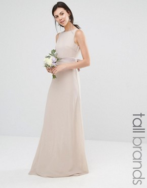 photo Sateen Bow Back Maxi Dress by TFNC Tall WEDDING, color Whisper Pink - Image 1
