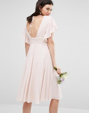 photo Fluted Sleeve Embellished Waist Midi Dress by TFNC Tall WEDDING, color Peach Blush - Image 2