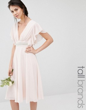 photo Fluted Sleeve Embellished Waist Midi Dress by TFNC Tall WEDDING, color Peach Blush - Image 1