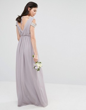 photo Cold Shoulder Wrap Front Maxi Dress by TFNC Tall WEDDING, color Opal Gray - Image 2