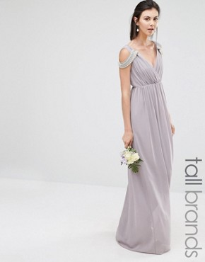 photo Cold Shoulder Wrap Front Maxi Dress by TFNC Tall WEDDING, color Opal Gray - Image 1