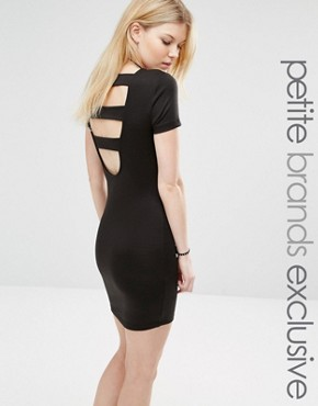photo Open Back Strap Bodycon Dress by Noisy May Petite, color Black - Image 1