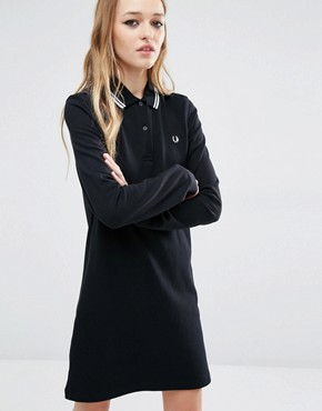 photo Stripe Collar Polo Dress by Fred Perry, color Black/White - Image 1