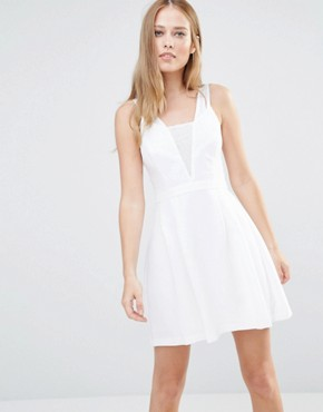 photo Lace Insert Dress by BCBGeneration, color Optic White - Image 1