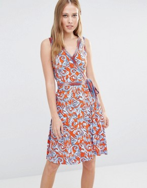 photo Hallee Sleevless Wrap Dress with Ikat Print by BCBG Max Azria, color Saffron Combo 8g8 - Image 1