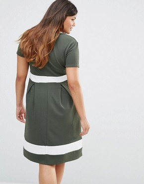 photo Skater Dress with Contrast Band by Praslin Plus, color Khaki - Image 2