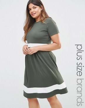 photo Skater Dress with Contrast Band by Praslin Plus, color Khaki - Image 1