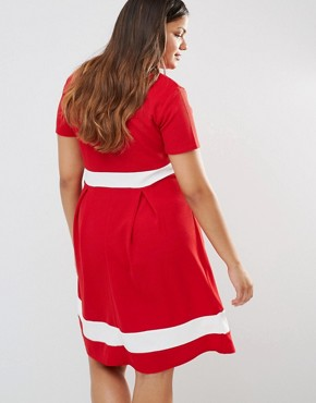 photo Skater Dress with Contrast Band by Praslin Plus, color Red - Image 2