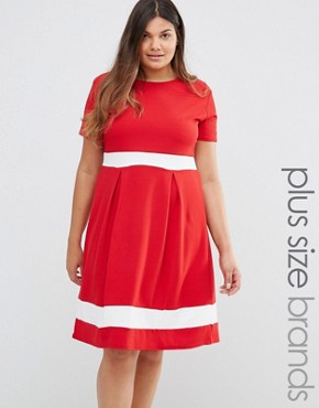 photo Skater Dress with Contrast Band by Praslin Plus, color Red - Image 1