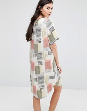 photo Graphic Square Print Tee Dress by ADPT Tall, color Multi - Image 2