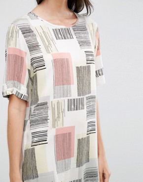 photo Graphic Square Print Tee Dress by ADPT Tall, color Multi - Image 3
