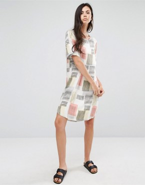 photo Graphic Square Print Tee Dress by ADPT Tall, color Multi - Image 4