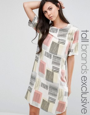 photo Graphic Square Print Tee Dress by ADPT Tall, color Multi - Image 1