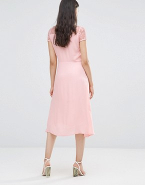 photo Lace Sleeve Dress in Rose by Soaked in Luxury, color Rosy Nude - Image 2