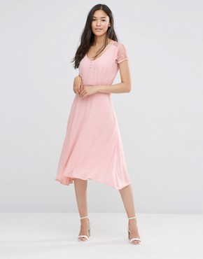 photo Lace Sleeve Dress in Rose by Soaked in Luxury, color Rosy Nude - Image 1