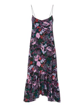 photo Inga Floral Slip Dress by Saloni 1487F16, Bougainvillea color - Image 1